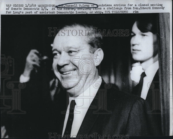 1969 Press Photo Russell Long at Closed Democratic Meeting - Historic Images