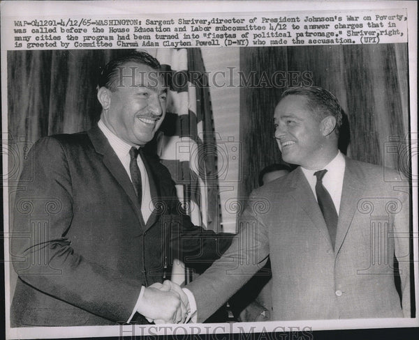 1965 Press Photo Sargent Shriver, Committee Chairman Adam Clayton Powell - Historic Images