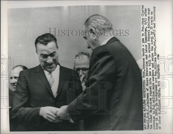 1966 Press Photo President Johnson, Rep. Adam Clayton Powell - Historic Images