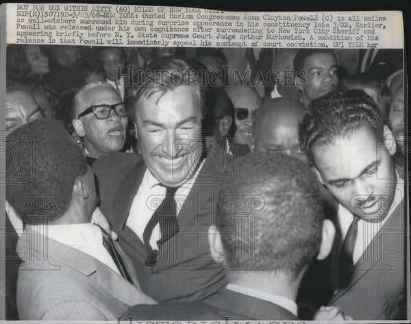 1968 Press Photo Ousted Harlem Congressman Adam Clayton Powell - Historic Images