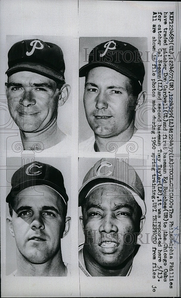1960 Press Photo Philadelphia Phillies Traded Cardwell Bouchee Neeman Taylor - Historic Images