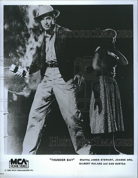 1986 Press Photo of 1953 Film Thunder Bay With Actor James Stewart, Joanne Dru - Historic Images