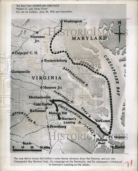 "1961 Map McClellan's Advance Down Potomac ""American Heritage"" - Historic Images"