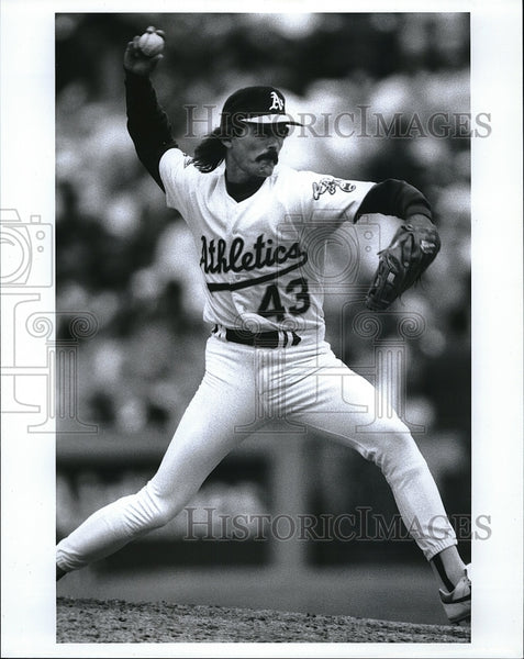 Press Photo Dennis Eckersley Baseball Player Oakland Athletics - Historic Images