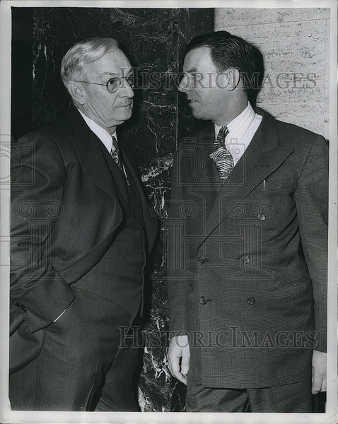 1945 Press Photo Red's Mgr Bill McKechnel & Boston Braves Mgr John Quinn - Historic Images