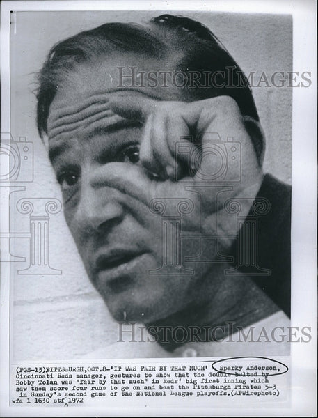 1972 Press Photo Sparky Anderson, Cinncinati Reds manager - Historic Images