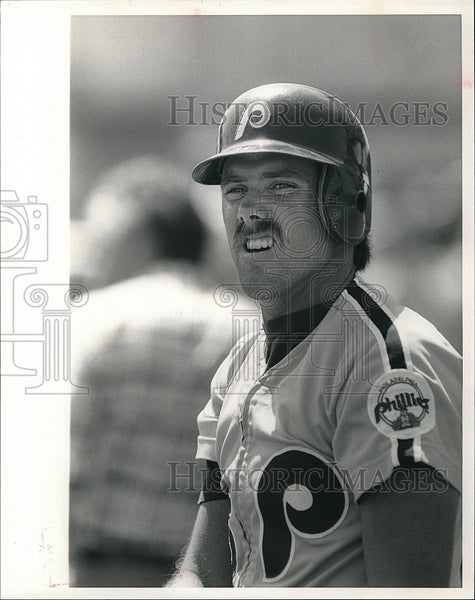 1985 Press Photo Rick Schu, Philadelphia Phillies Baseball - Historic Images