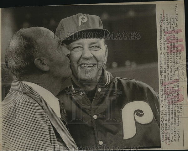 1976 Press Photo Phillies manager Danny Ozark & GM Paul Owens - Historic Images