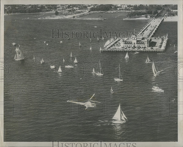 1953 Press Photo Aerial view of St.Petersburg Yachting, Armistice Regatta. - Historic Images