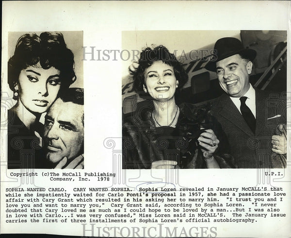 1957 Press Photo Actress Sophia Loren in January Issue of McCalls Cary Grant - Historic Images