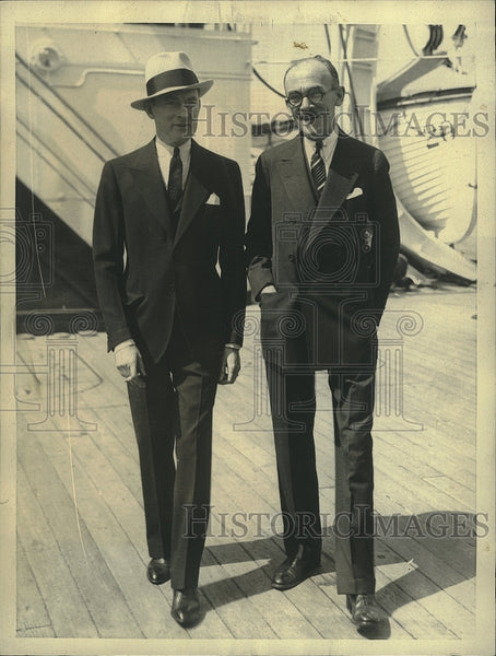 1932 Press Photo ex-Mayor James Walker and George Collins aboard SS Conte Grande - Historic Images