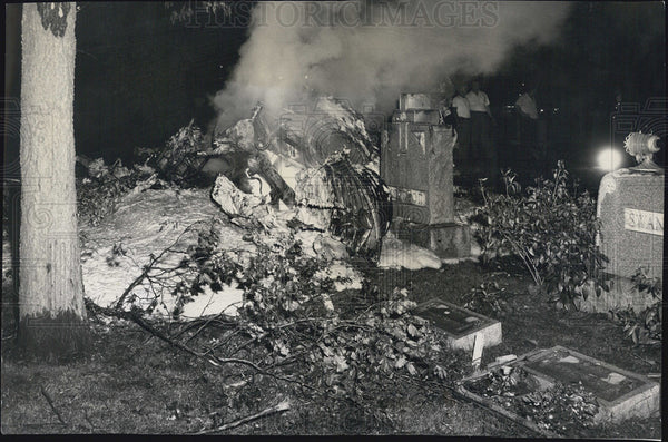 1960 Wreckage of helicopter crash in Forest Home Cemetary - Historic Images