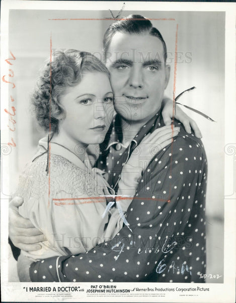 1936 Actor Pat O'Brien Josephine Hutchinson Press Photo - Historic Images
