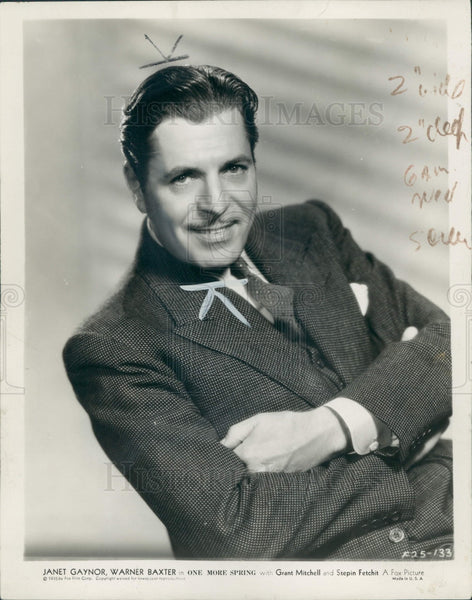 1935 Actor Warner Baxter Press Photo - Historic Images