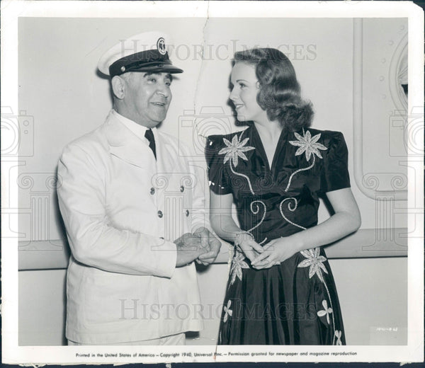 1940 Actors Eddie Polo & Deanna Durbin Press Photo - Historic Images