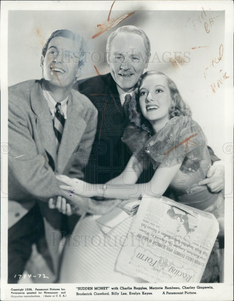 1939 Actors Evelyn Keyes & Charles Ruggles Press Photo - Historic Images