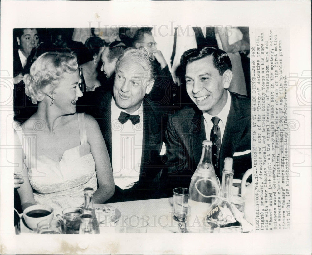 1954 Jack Webb/Charles Farrell/Dorothy Towne Photo - Historic Images