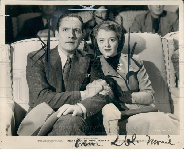 1937 Actors Janet Gaynor & Fredric March Press Photo - Historic Images