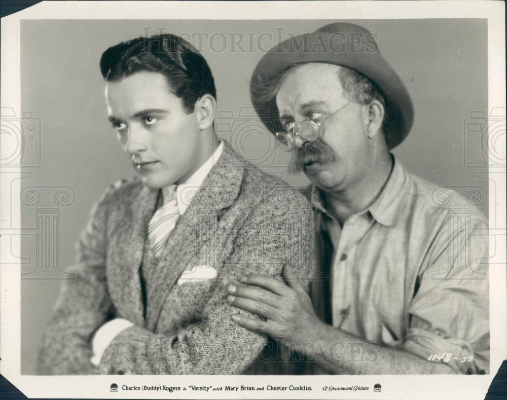 1928 Actor Charles Buddy Rogers & Chester Conklin Photo - Historic Images
