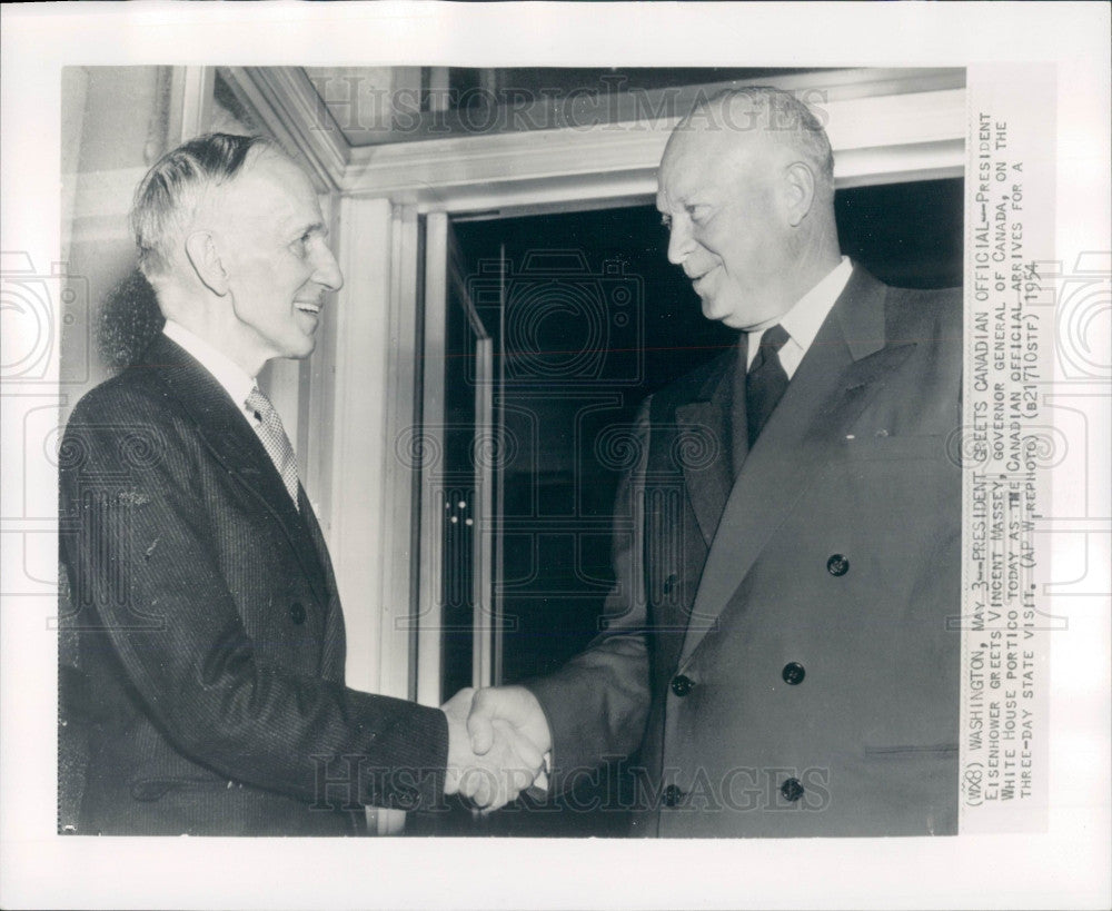 1954 Canada Governor General Vincent Massey Press Photo - Historic Images