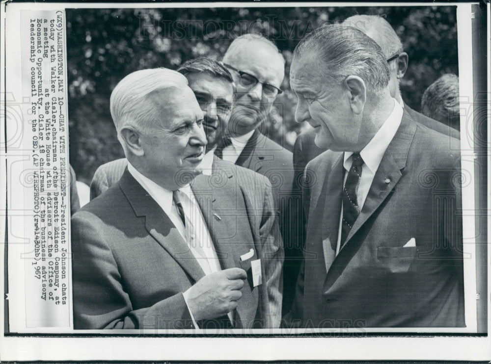 1967 US Pres Johnson Detroit Edison Cisler Press Photo - Historic Images