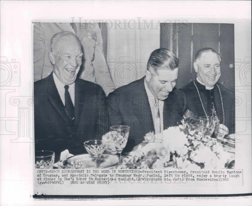 1960 US Pres Eisenhower Uruguay Mardone Press Photo - Historic Images
