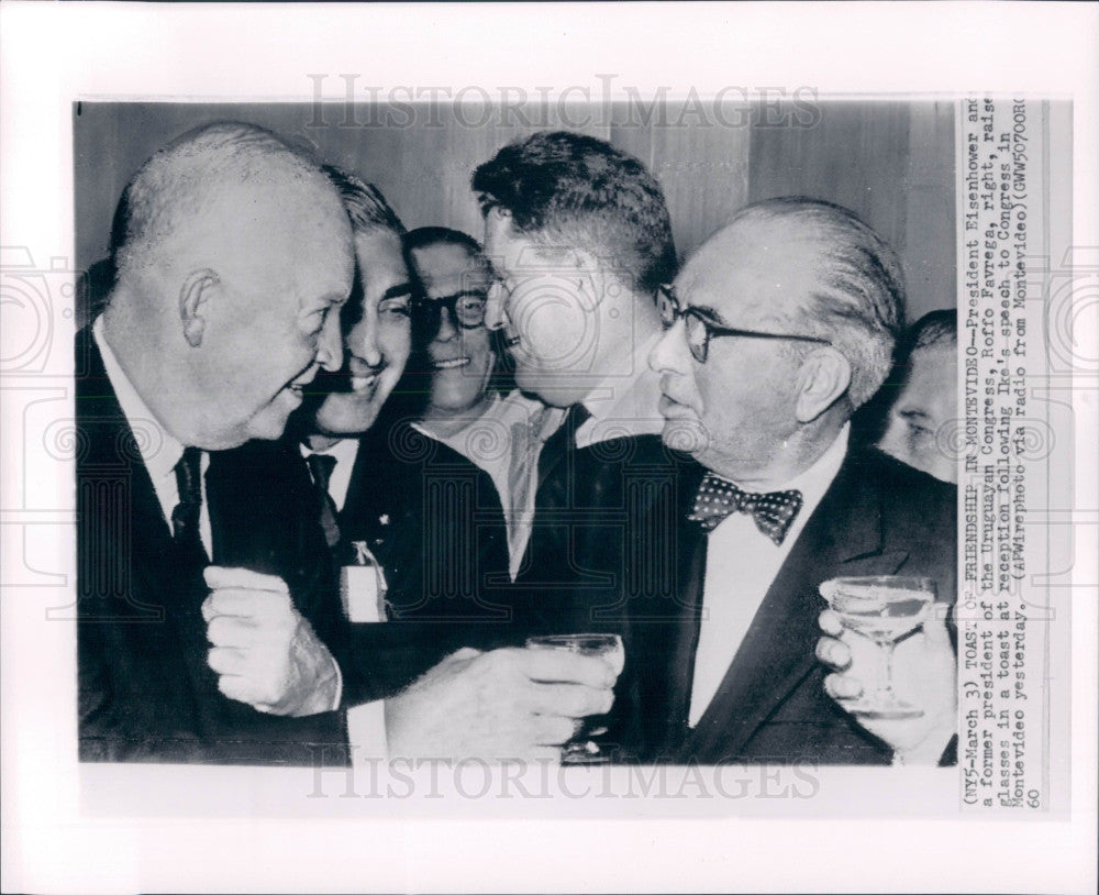 1960 US Pres Eisenhower Uruguay Favrega Press Photo - Historic Images