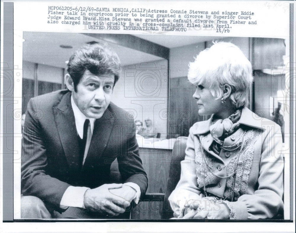 1969 Singers Eddie Fisher & Connie Stevens Press Photo - Historic Images