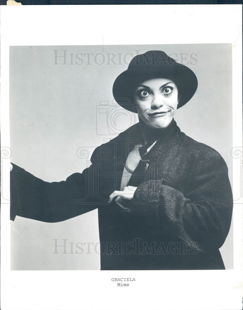 1980 Argentinian Mime Graciela Binaghi Press Photo - Historic Images