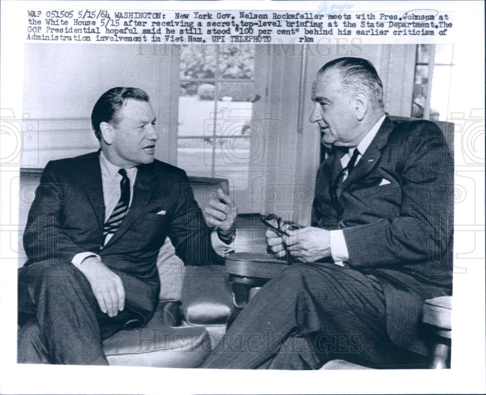 1964 US Pres Johnson & NY Gov Rockefeller Press Photo - Historic Images