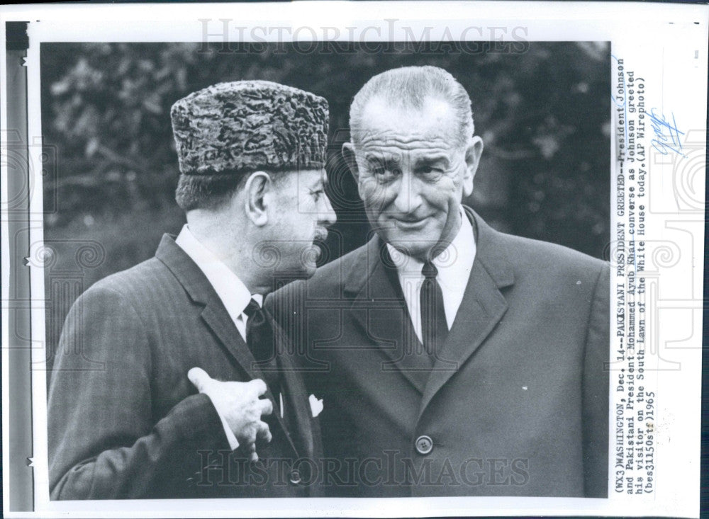 1965 US Pres Johnson Pakistan Pres Khan Press Photo - Historic Images