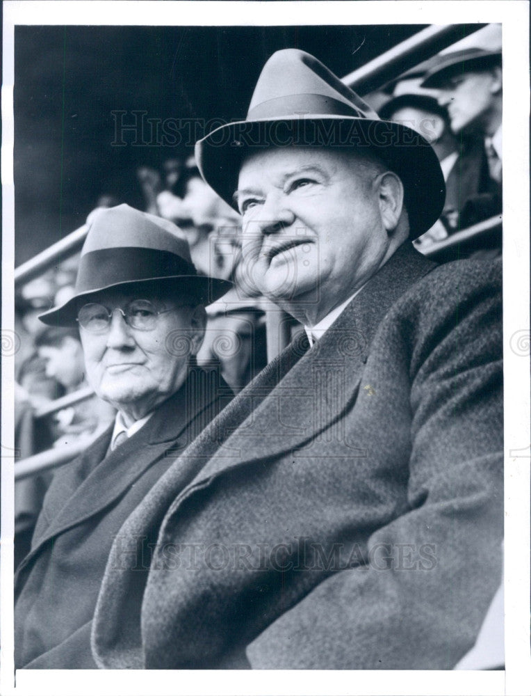 1943 US Pres Herbert Hoover Yankee Stadium Press Photo - Historic Images