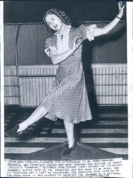 1939 Actress/Dancer Marion Daniels Press Photo - Historic Images