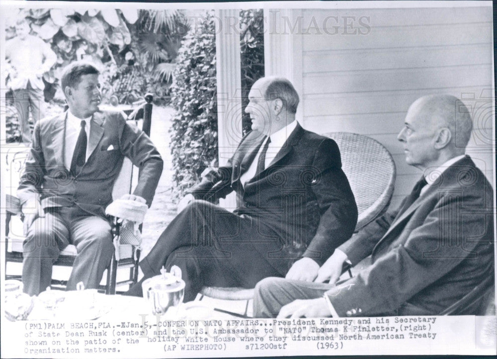 1963 US Pres Kennedy/Sec State Rusk/Finletter Photo - Historic Images