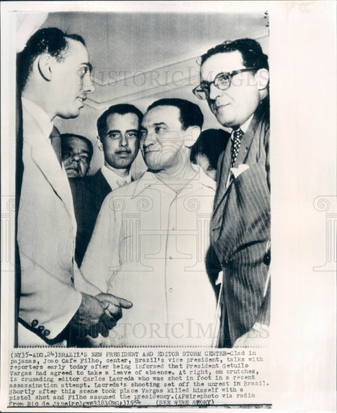 1954 Brazil President Joao Cafe Filho Press Photo - Historic Images