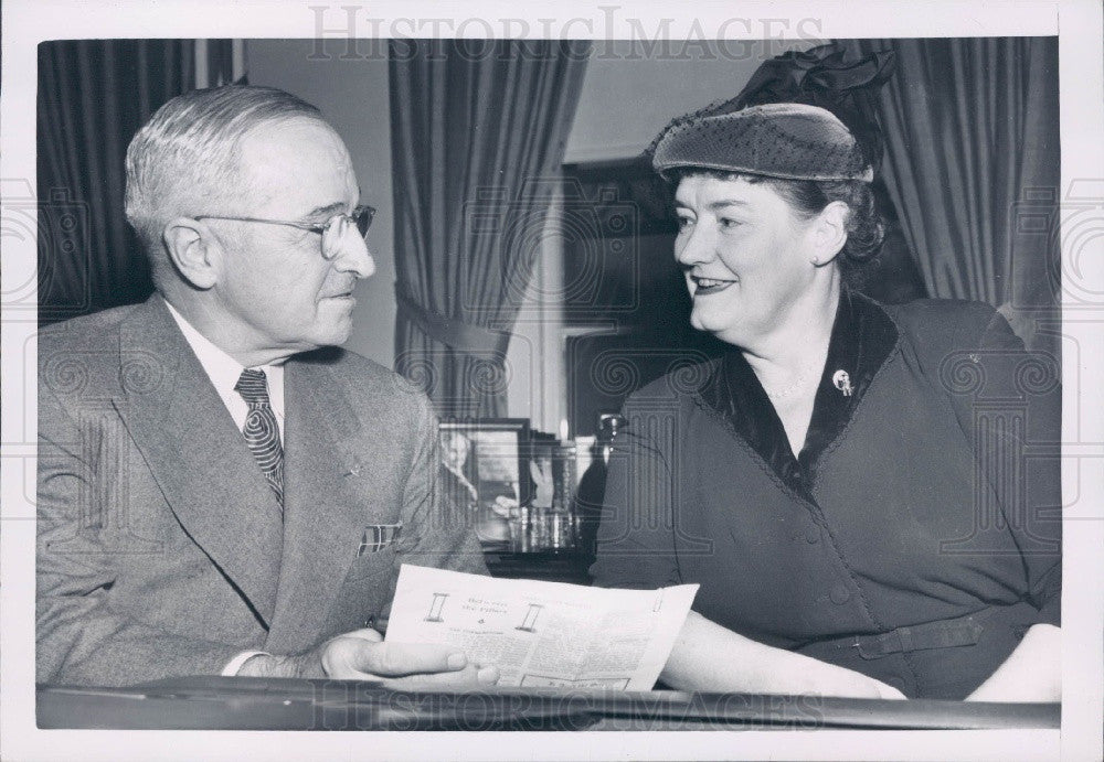 1952 US Pres Truman & India Edwards DNC Press Photo - Historic Images