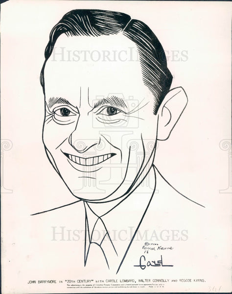 1934 Actor Roscoe Karns Caricature Press Photo - Historic Images