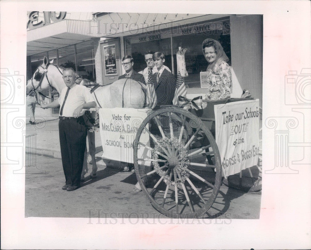 1970 Pasco County Florida School Board Campaign Horse & Buggy Press Photo - Historic Images