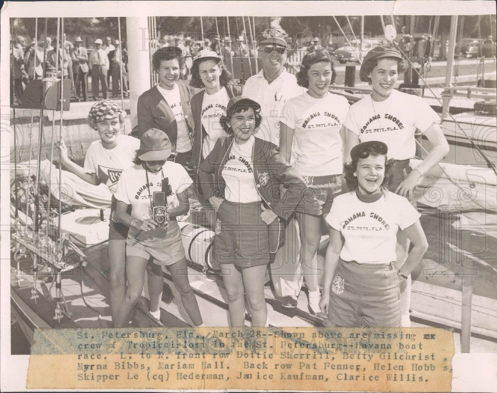 Undated St. Petersburg Florida to Havana Boat Race Tropicair Crew Press Photo - Historic Images