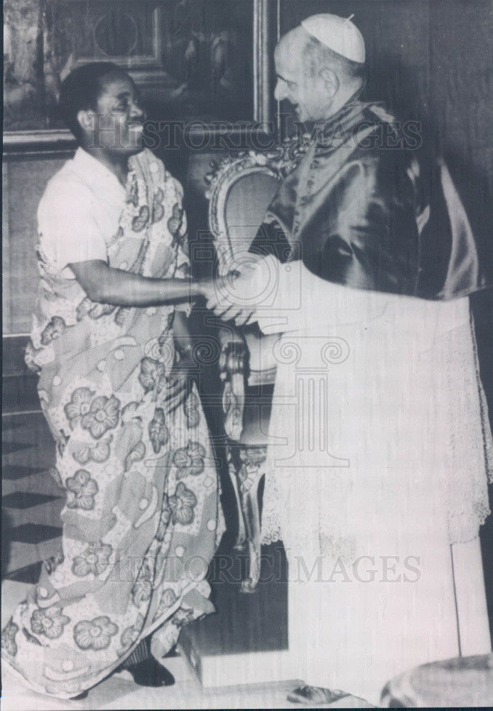 1965 Pope Paul VI & Zambia Republic Ambassador Katilungu Press Photo - Historic Images