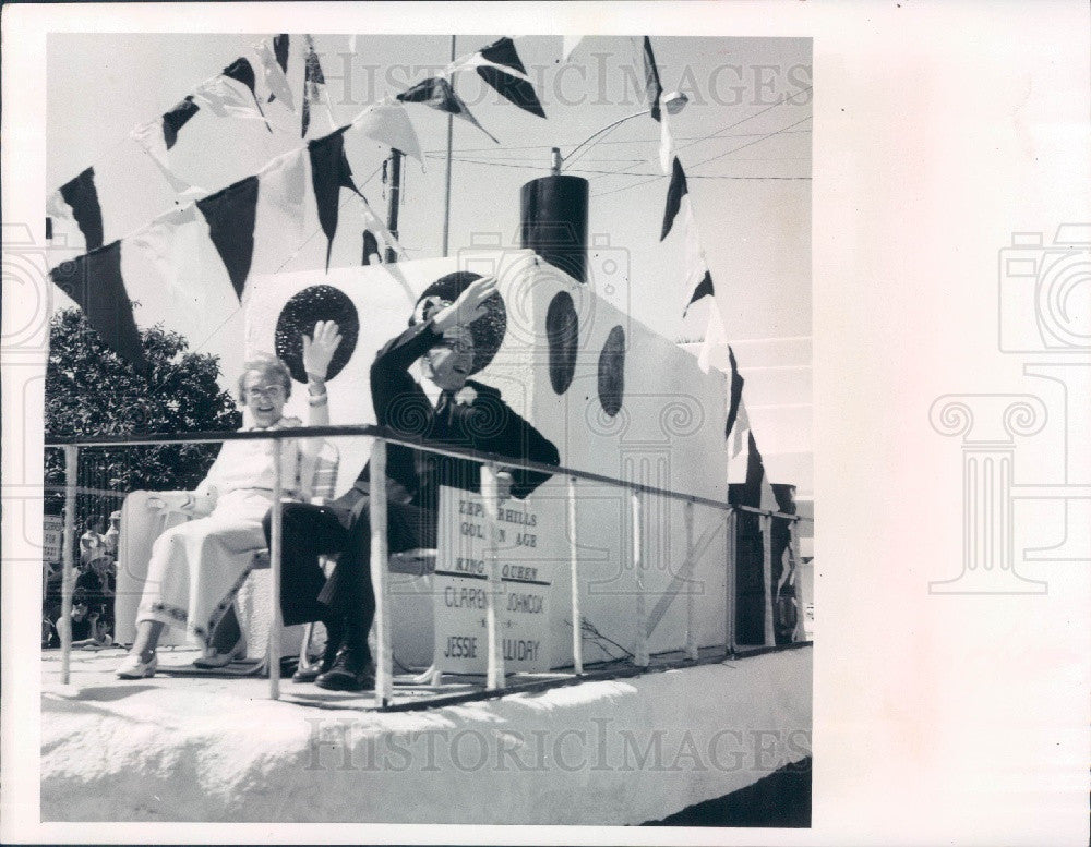 1973 Zephyrhills Florida Founders Day Parade Golden Age King & Queen Press Photo - Historic Images