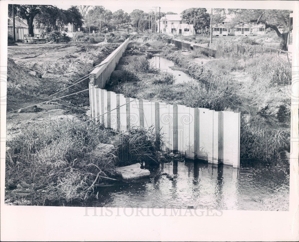 1965 St Petersburg Florida Booker Creek Drainage Construction Press Photo - Historic Images