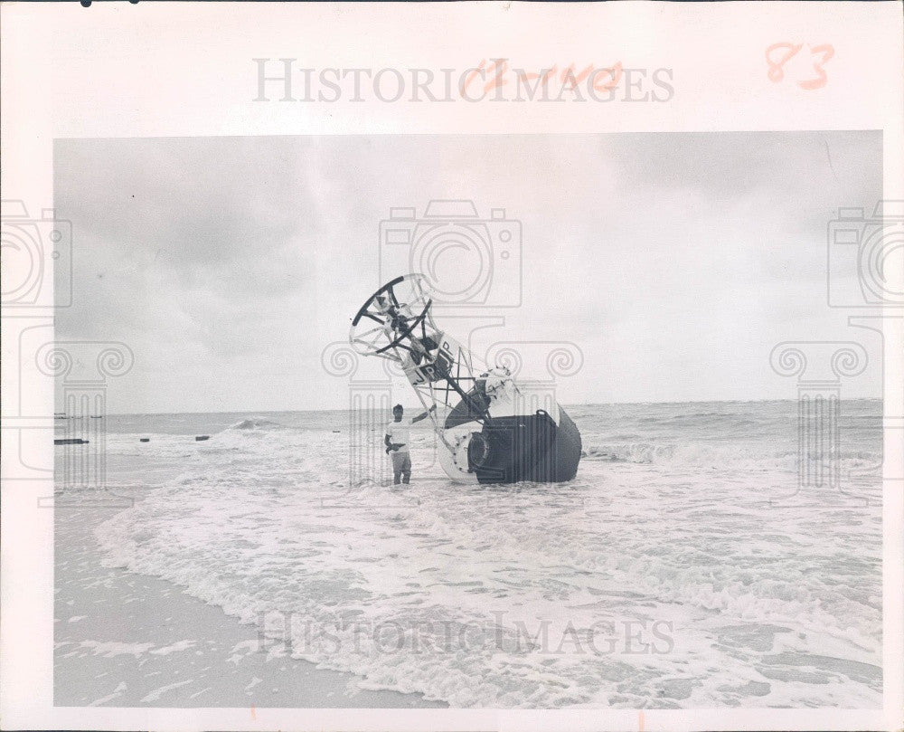 1967 Pinellas County Florida Sunset Beach Flooding Johns Pass Buoy Press Photo - Historic Images