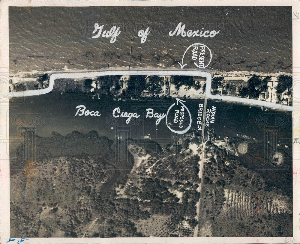Undated Aerial of Florida's Boca Ciega Bay & Proposed Road Press Photo - Historic Images