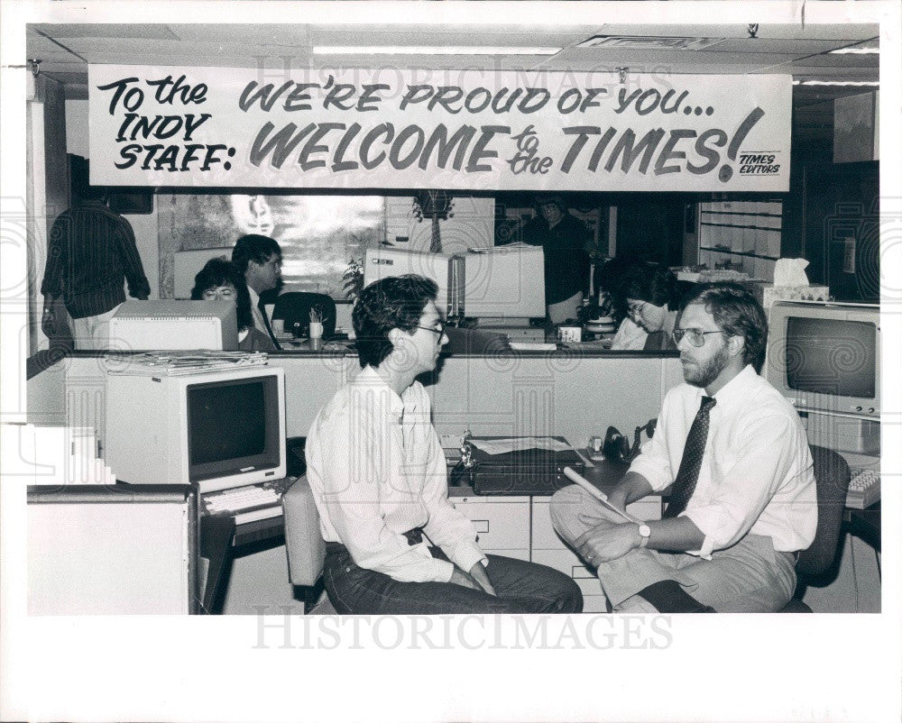 1986 St Petersburg Florida Times & Independent Merger Press Photo - Historic Images