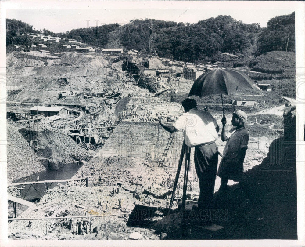 1966 India Kakki Reservoir Pamba Hydroelectric Project Construction Press Photo - Historic Images