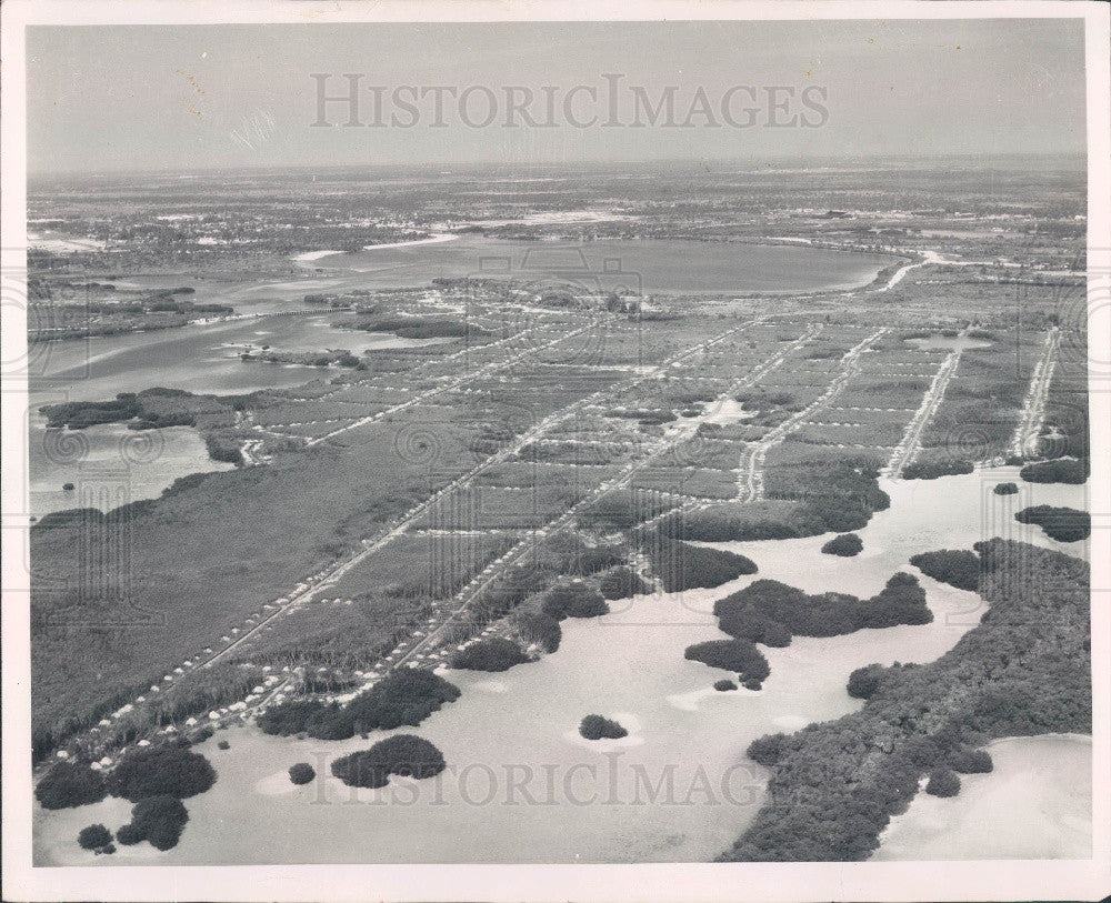 1958 Aerial View of Weedon Island in Florida Press Photo - Historic Images