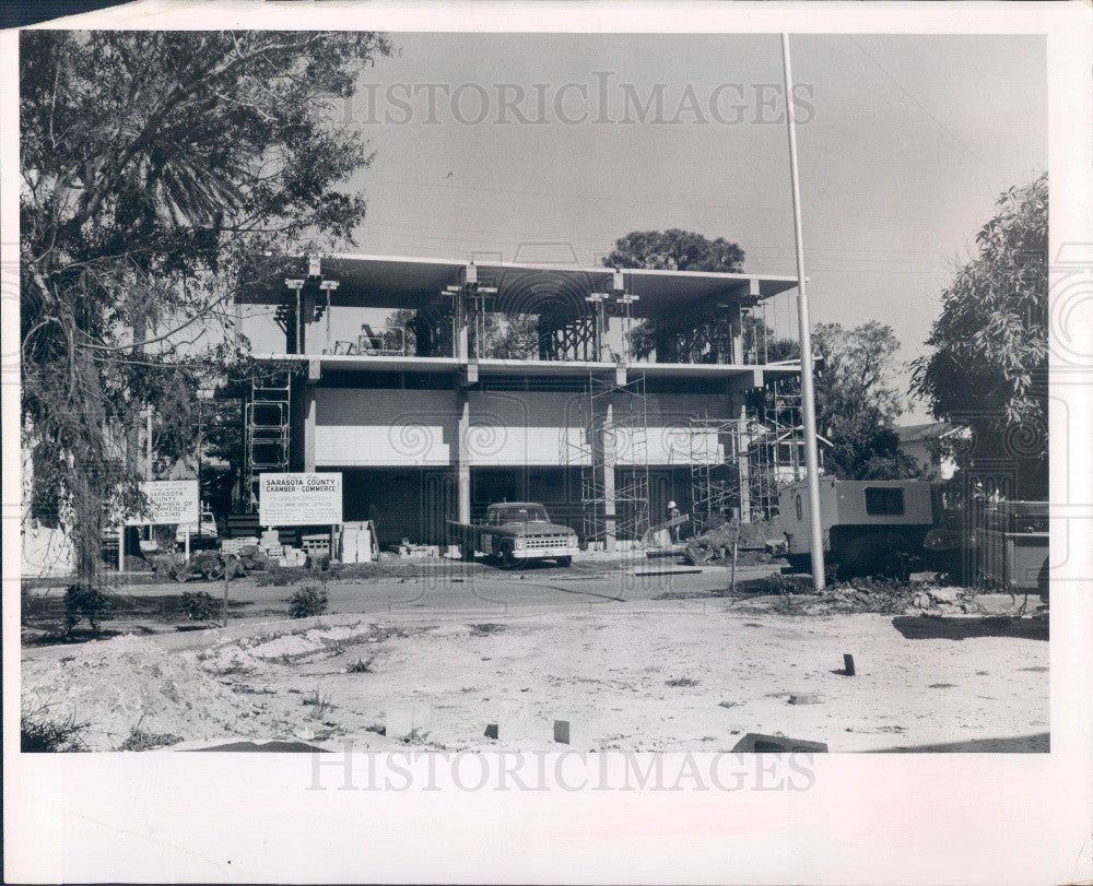 1966 Sarasota County Florida Chamber of Commerce Bldg Construction Press Photo - Historic Images