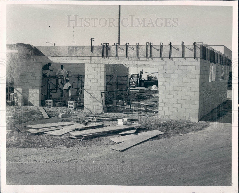 1965 Treasure Island Florida Police & Fire Bldg Construction Press Photo - Historic Images