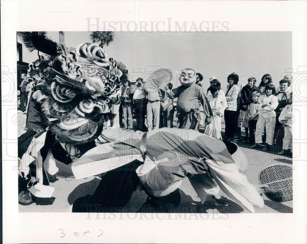 1981 Seminole Florida Chinese New Year Celebration Lions Dance Press Photo - Historic Images
